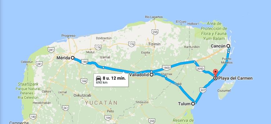 Reisroute Yucatan Mexico