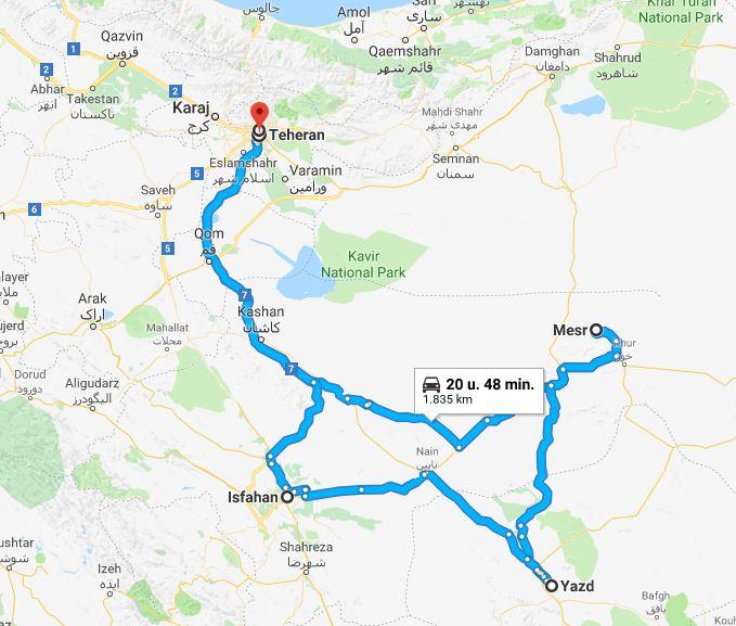 Iran reisroute 2 weken